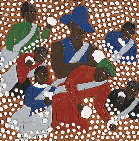 Family Picking Cotton, 2003 Dye on carved and tooled leather 14 1/2 x 14 inches SOLD Image