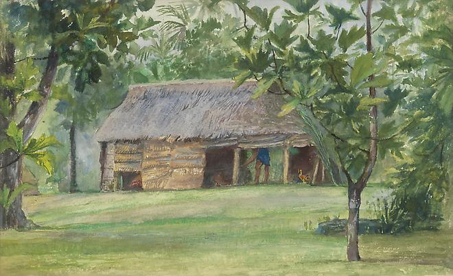John La Farge (1835-1910) Mataafa's Cook House, from Our Hut at Vaiala, Samoa, 1890 Watercolor and gouache on paper 6 1/4 x 10 1/8 inches Image