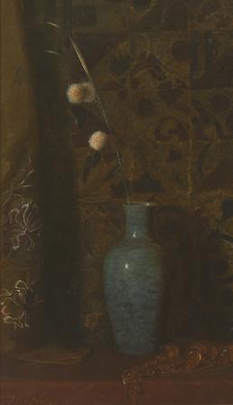 Still Life with Allium and Amber Beads, c. 1877-1880 Oil on canvas 23 1/4 x 13 7/8 inches Image