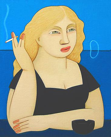 Woman Smoking: Joanne, 2009 Oil on linen 7 1/2 x 6 inches SOLD Image