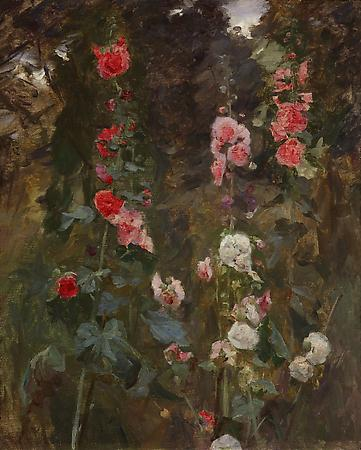 John Singer Sargent (1856-1925) Hollyhocks, c. 1886 Oil on canvas 39 3/4 x 33 inches Private collection Image