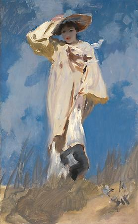 John Singer Sargent (1856-1925) A Gust of Wind, c. 1883 Oil on canvas 24 1/4 x 15 inches Private collection Image