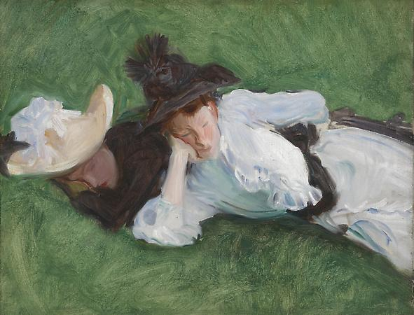 John Singer Sargent (1856-1925) Two Girls on a Lawn, 1888 or 1889 Oil on canvas 21 1/8 x 25 1/4 inches Private collection Image