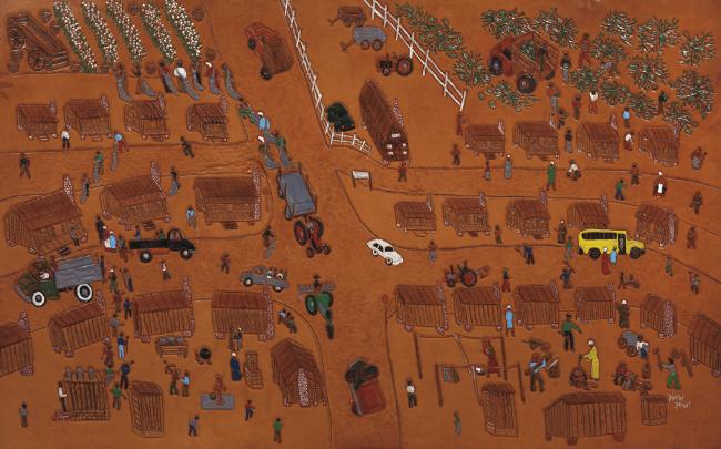 Dunlap's Quarters, 2000 Dye on carved and tooled leather 31 x 49 1/2 inches $30,000 Image