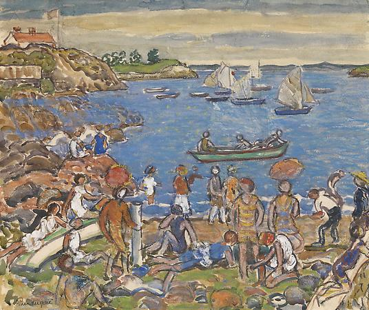 Maurice Prendergast (1858-1924) Near Gloucester, c. 1916-19 Watercolor, pastel, gouache and charcoal on paper 15 1/8 x 18 1/8 inches Image