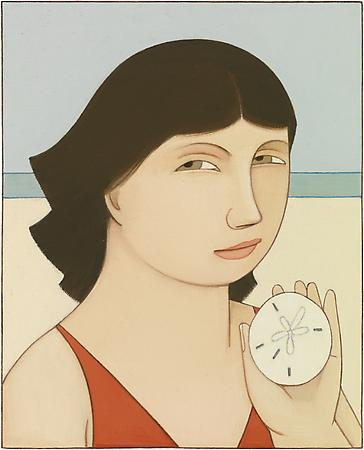 Loretta with Sand Dollar, 2007 Oil on linen 5 1/4 x 4 1/4 inches Signed at lower left: AVS Private collection Image