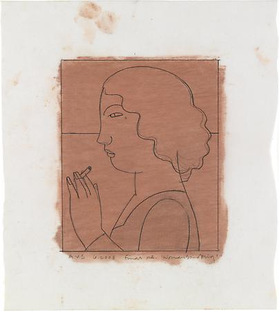Woman Smoking, 2008 Pencil on paper with pastel tone on reverse 5 1/2 x 4 1/2 inches Inscribed, signed and dated at lower left and lower right: AVS / 6.2008 / final re. 'Woman Smoking' $1,000 Image