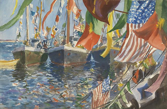 John Whorf (1903-1959) Fourth of July (verso: Lobstering), c. 1930's Watercolor on paper 14 1/8 x 21 3/4 inches SOLD Image