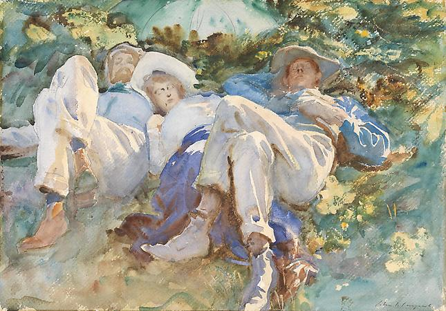 John Singer Sargent (1856-1925) The Siesta, c.1905 Watercolor on paper 14 x 20 inches SOLD Image