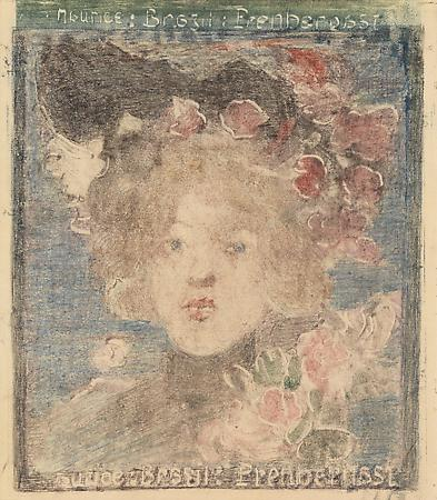 Maurice Prendergast (1858-1924) Head of a Girl (with Roses), c. 1898-1899 Monotype with pencil additions on paper 6 1/4 x 5 1/2 inches Image