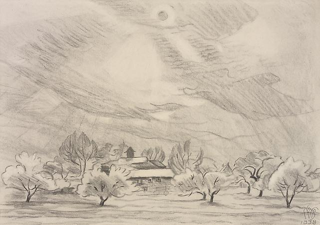 Charles Burchfield (1893-1967) Spring Afternoon, 1938 Conté crayon on paper 12 1/2 x 17 3/4 inches Image