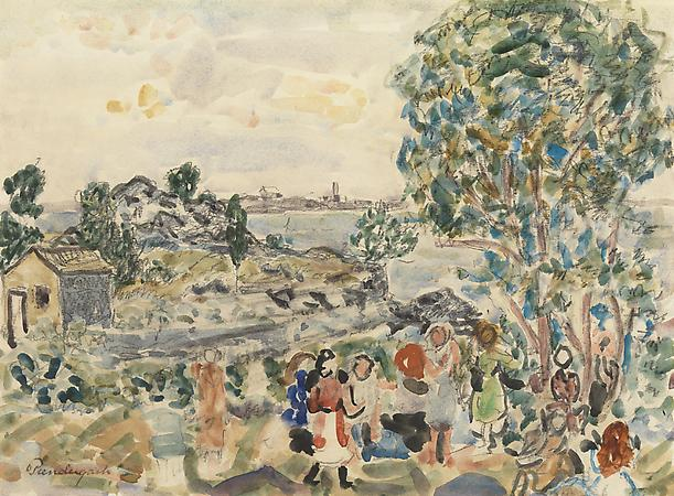 Maurice Prendergast (1858-1924) Children in a Landscape (Enfants dans un paysage), c. 1920-23 Watercolor and pencil on paper 9 7/8 x 13 1/2 inches Image