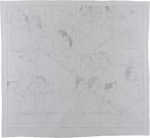 Final Drawing for On the Stairs, 2010 Pencil on paper 54 x 60 inches Signed and dated at lower left: AVS / 12 - 15 Feb 10 $7,500 Image