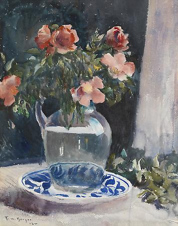Still Life with Flowers, 1922 Watercolor on paper 19  x 15 inches Image