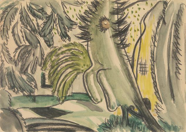 Study for Dancing Tree, c. 1930-31 Watercolor and charcoal on paper 4 3/4 x 6 3/4 inches Image