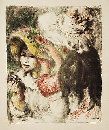 Pierre-Auguste Renoir Le Chapeau épinglé, 2e planche, c. 1898 Lithograph on Arches paper Image: 24 1/2 x 19 5/8 inches, (62.2 x 50 cm) Sheet: 35 3/4 x 24 3/4 inches, (91 x 63 cm) One of 100 impressions printed in black, of about 200 monochrome impressions printed before the edition in color  Delteil, Stella 30 Image