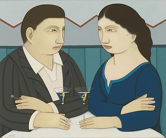 Couple with Drinks, 2009 Oil on linen 10 x 12 inches Signed at lower left: AVS Private collection Image