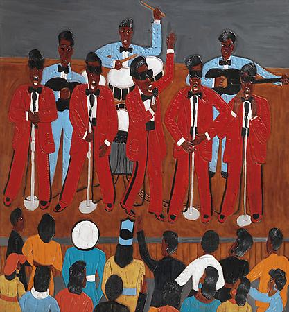 The Five Blind Boys, 2009 Dye on carved and tooled leather 35 3/4 x 33 1/4 inches $25,000 Image