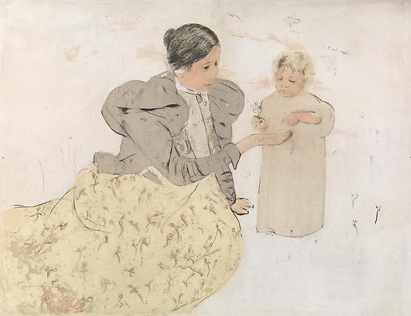Mary Cassatt (1844-1926) Picking Daisies in a Field, c. 1896-97 Drypoint and aquatint, printed in colors on laid paper Plate: 13 x 17 inches Sheet: 14 7/8 x 18 5/8 inches SOLD Image