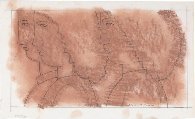 Study for On the Stairs, 2010 Pencil on paper with pastel tone on reverse 7 x 12 5/8 inches Signed and dated at lower right: AVS 7 May 10 $2,000 Image