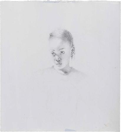 Cindy, 2008 Silverpoint on prepared Pescia Blue handmade rag paper  11 1/2 x 10 1/2 inches Image