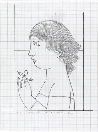 Woman with Kumquat, 2008 Pencil on graph paper  7 x 5 inches Signed, inscribed and dated at lower left/lower right: AVS / 6 Jun 08 / Loretta with Kumquat $1,200 Image