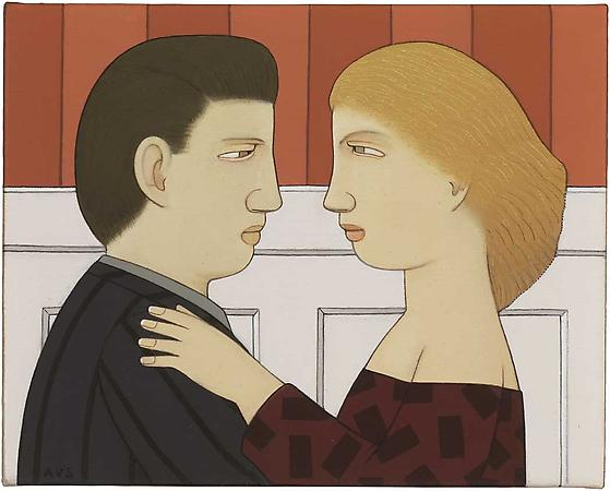 Couple in Red and White, 2008 Oil on linen 6 x 7 1/2 inches Signed at lower left: AVS SOLD Image