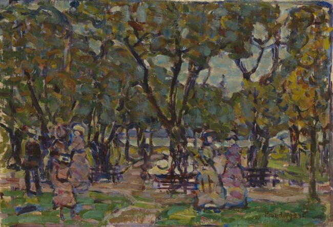 Figures under the Trees, c. 1907-10 Oil on canvas 16 1/8 x 23 1/2 inches Image