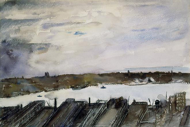 View of the East River, c.1900 Watercolor on paper 10 1/2 x 15 1/2 inches Image