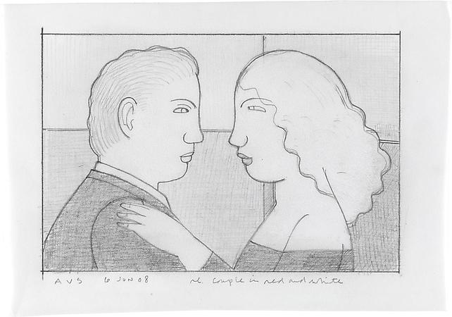 Couple in Red and White, 2008 Pencil on paper 4 5/8 x 6 1/2 inches Inscribed, signed and dated at lower left/lower right: AVS / 6 Jun 08 / re Couple in red and white SOLD Image