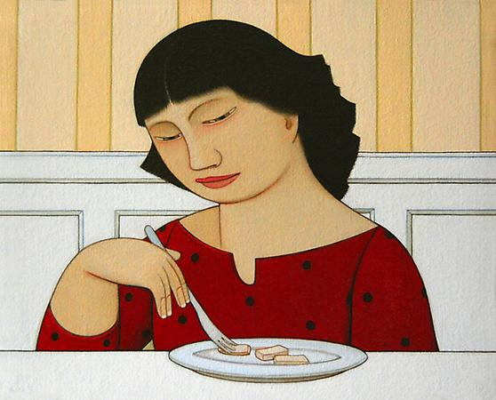 Loretta Eating Tofu, 2009 Oil on linen 6 x 7 1/2 inches Not for Sale Image