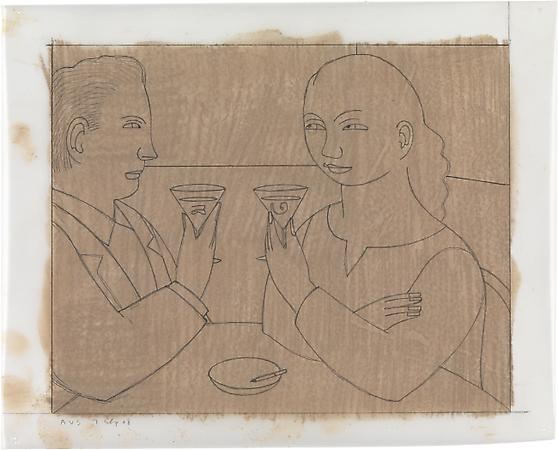 Drawing #2 for Toast, 2008 Pencil on paper with pastel tone on reverse 8 5/8 x 10 3/8 inches Signed and dated at lower left: AVS 7 Sep 08 $1,500 Image