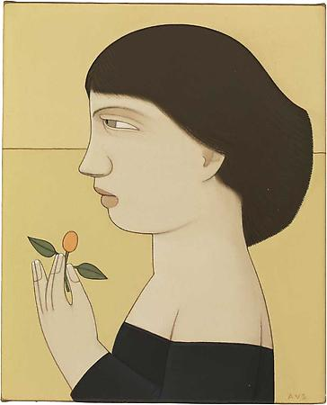 Woman with Kumquat, 2008 Oil on linen 8 x 6 1/2 inches Signed at lower right: AVS SOLD Image