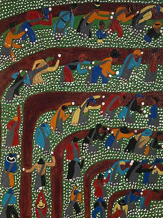 Winfred Rembert (b. 1945) Picking Cotton, Rows to the Right, 2009 Dye on carved and tooled leather 42 x 31 1/2 inches 106.7 x 80 cm Signed at lower center: Winfred Rembert Image