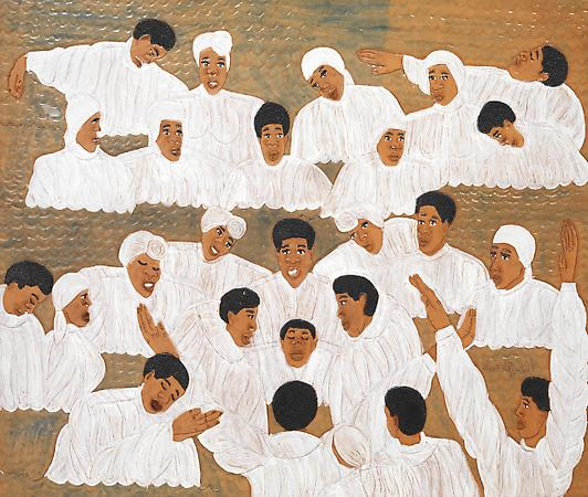 Winfred Rembert (b. 1945) The Baptism , 2003 Dye on carved and tooled leather 29 1/4 x 34 3/4 inches 74.3 x 88.3 cm Signed at lower right: Winfred Rembert Image