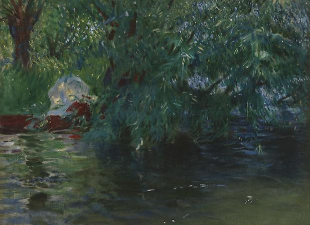 John Singer Sargent (1856-1925) A Backwater at Henley, c. 1887 Oil on canvas 20 1/4 x 27 inches The Baltimore Museum of Art: Gift of J. Gilman D'Arcy Paul (BMA 1968.22) Image
