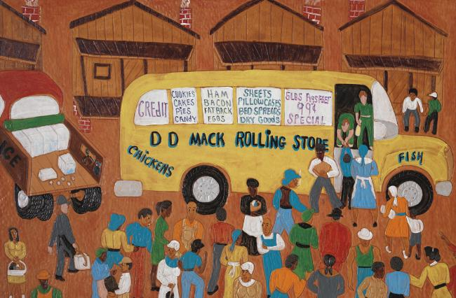 D.D. Mack's Rolling Store, 2008 Dye on carved and tooled leather 23 3/4 x 36 1/4 inches $25,000 Image