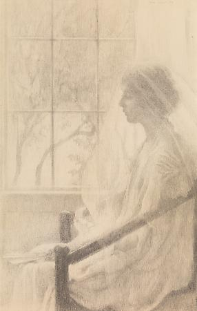 Lilian Westcott Hale (1881-1963) The Veil, 1916 Pencil on paper 22 x 14 1/8 inches Image