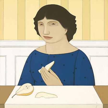 Woman with a Pear, 2009-10 Oil on linen 20 x 20 inches Signed at lower right: AVS $25,000 Image