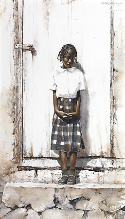 Dressed for School, 2010 Watercolor on Saunders watercolor paper 21 1/2 x 12 1/8 inches Image