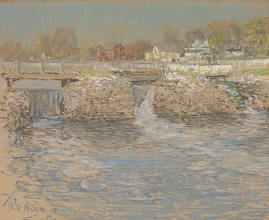 Childe Hassam (1859 -1935) Tidal Dam and Bridge, Cos Cob, 1902 Pastel on tan paper  17 1/2 x 21 3/4 inches Image