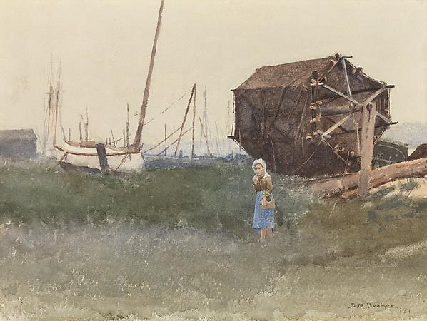 Dennis Miller Bunker (1861-1890) The Fisher Girl, Nantucket, 1881 Watercolor on paper  9 1/4 x 12 1/2 inches Image