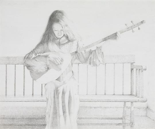 Lute Player, 2008 Silverpoint on prepared blue Pescia paper 13 1/4 x 16 1/4 inches Image