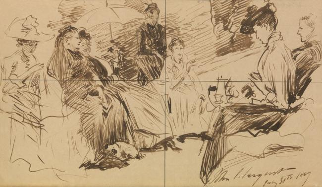 John Singer Sargent (1856-1925) Party of Ladies, 1889 Ink on paper 6 3/8 x 10 1/8 inches Private collection Image