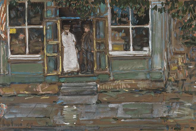 Childe Hassam (1859 -1935) Grocery Store, Phoenicia, 1917 Watercolor on paper 6 3/8 x 9 3/4 inches SOLD Image