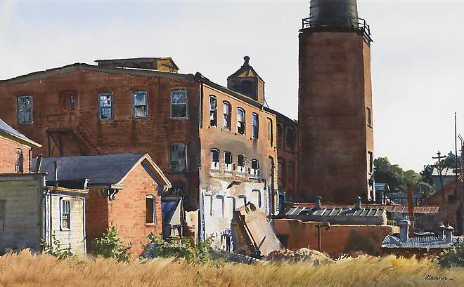 Old Mill, Winchendon, Massachusetts, c. 1960 Watercolor on paper 16 x 26 inches Image