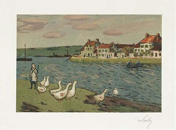 Alfred Sisley Les Bords de rivière (Les'Oies), 1897 Lithograph printed in colors Image: 8 1/4 x 12 1/2 inches, (21.4 x 31.8 cm) Sheet: 16 3/4 x 22 3/8 inches, (42.7 x 56.8 cm) Signed in pencil From the edition of 100 Delteil 6; Johnson 141; Mélot S. 6 Image