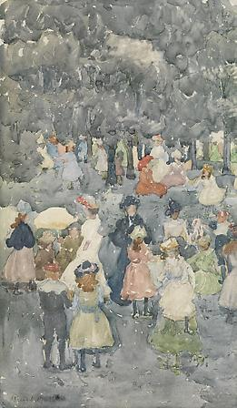 Maurice Prendergast (1858-1924) Picnic Party, c. 1900-03 Watercolor and pencil on paper 17 3/4 x 10 1/4 inches Image