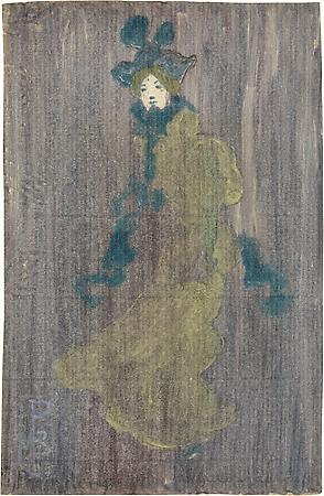 Maurice Prendergast (1858-1924) Lady in Pale Green Dress, Blue Hat and Scarf, c. 1891 Color monotype with touches of graphite and added color on paper 5 3/4 x 3 3/4 inches Image
