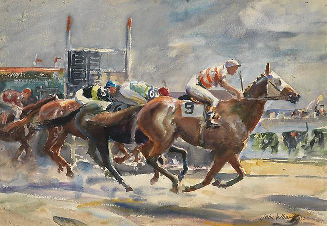 John Whorf (1903-1959) Approaching the Finish, 1926 Watercolor on paper 14 1/2 x 21 inches Image